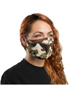Camouflage Cloth Reusable Face Mask with Black Logo | VM25BB