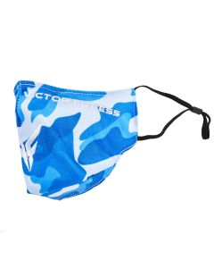Blue Camouflage Cloth Reusable Face Mask with White Logo | VM25BL