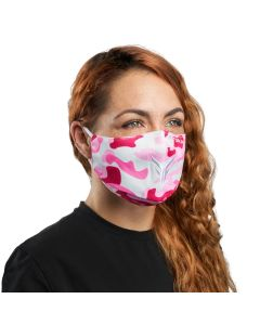 Pink Camouflage Cloth Reusable Face Mask with White Logo | VM25PK
