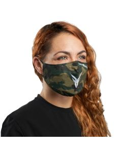 Camouflage Cloth Reusable Face Mask with White Logo | VM25WC